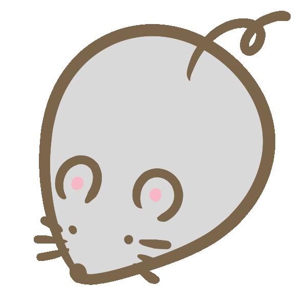丸いねずみ(グレー)のイラスト