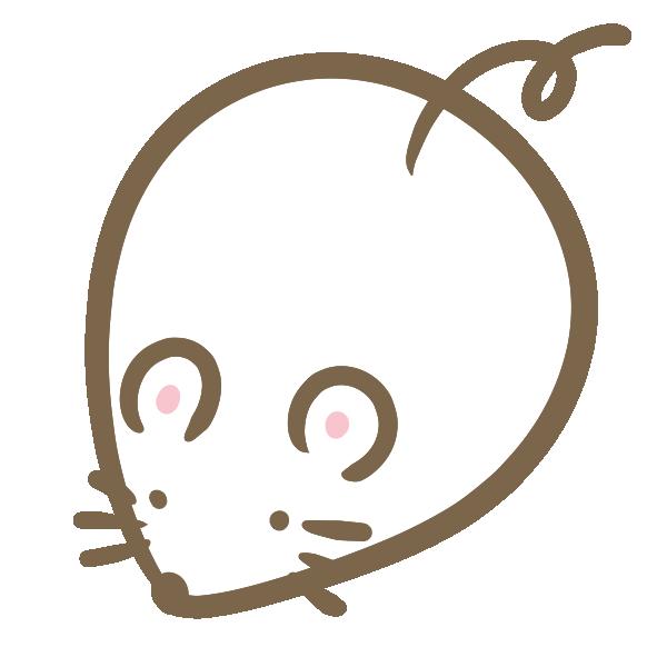 丸いねずみ(白)のイラスト
