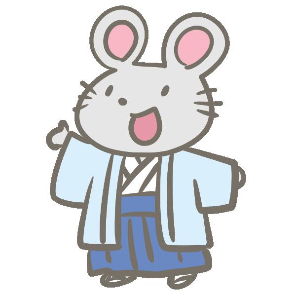 ねずみの男の子(袴)のイラスト