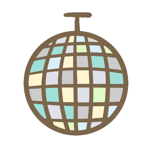 ミラーボール(ブルー系)のイラスト