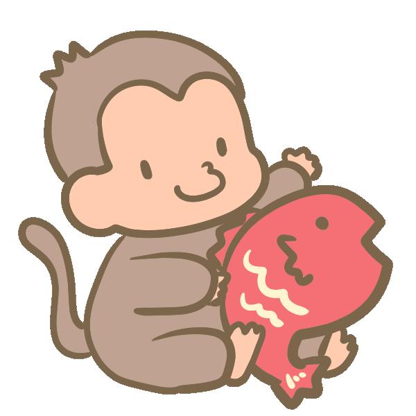 猿と鯛のイラスト