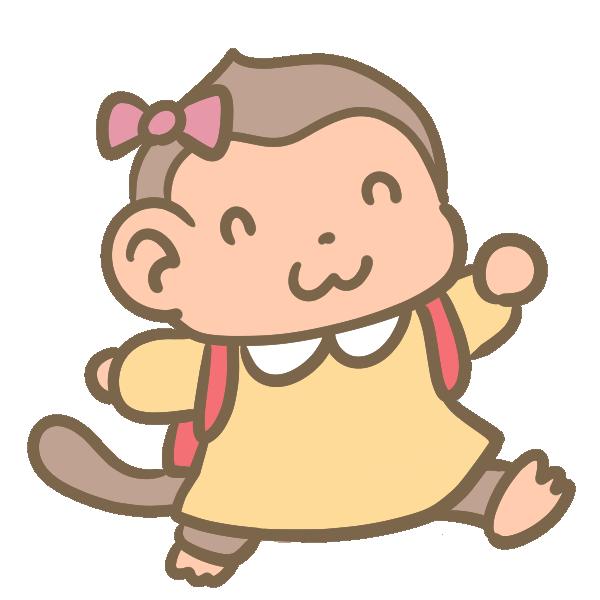 猿の小学生(女の子)のイラスト
