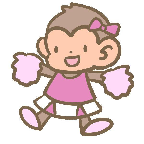 猿のチアリーダー(ピンク)のイラスト
