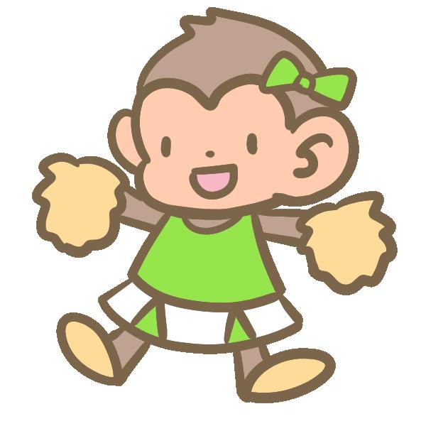 猿のチアリーダー(黄緑)のイラスト