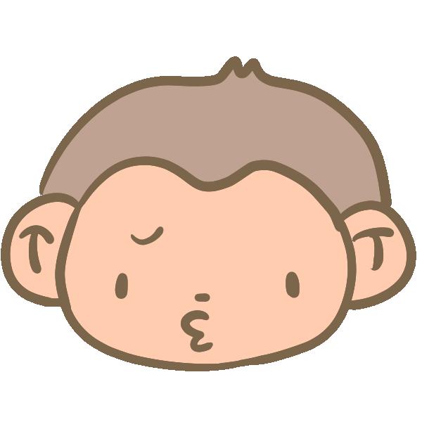 不満な猿の顔のイラスト