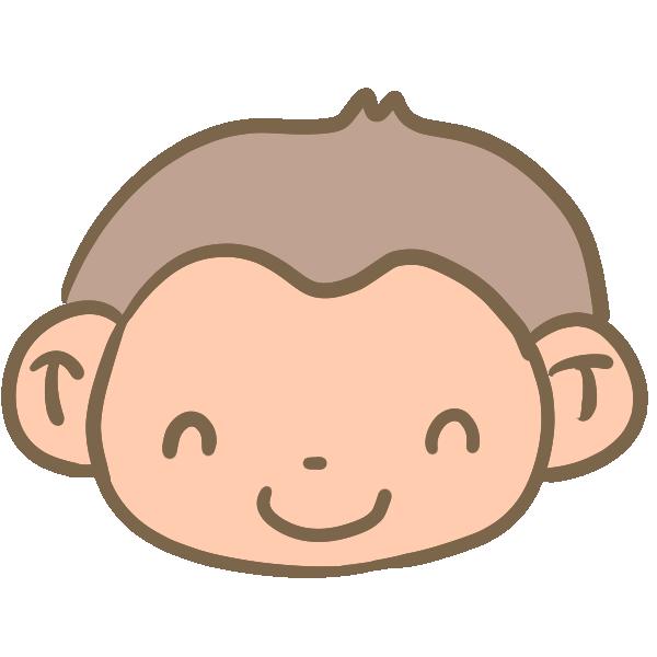 笑った猿の顔のイラスト