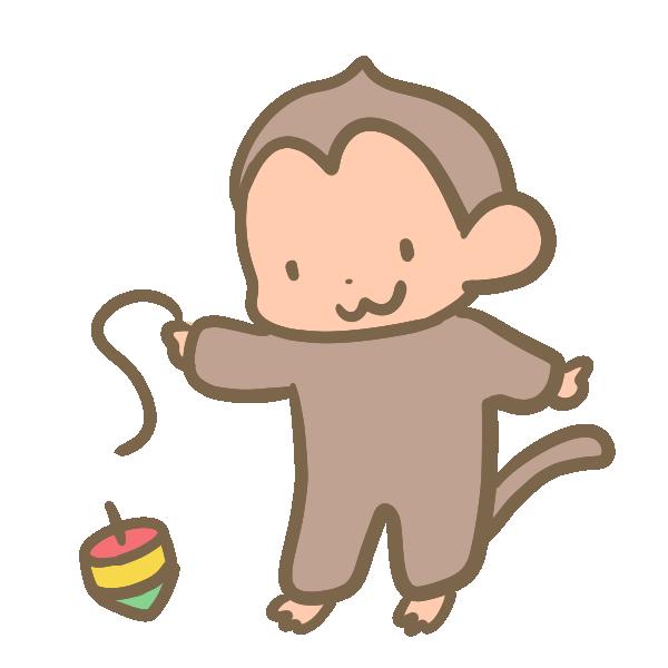 コマを回す猿のイラスト