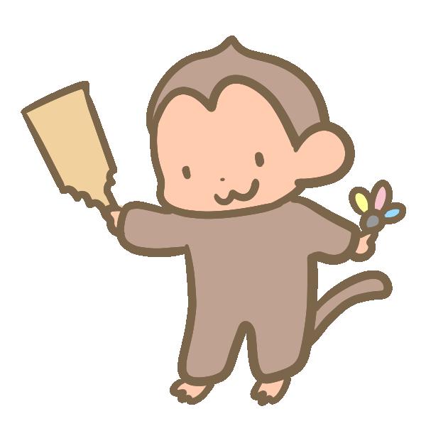 羽子板を持つ猿のイラスト