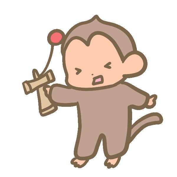 けん玉を失敗する猿のイラスト