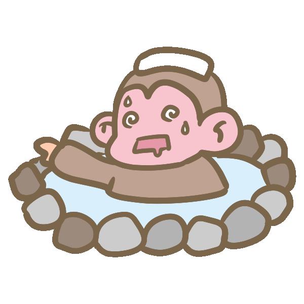 温泉にのぼせる猿のイラスト
