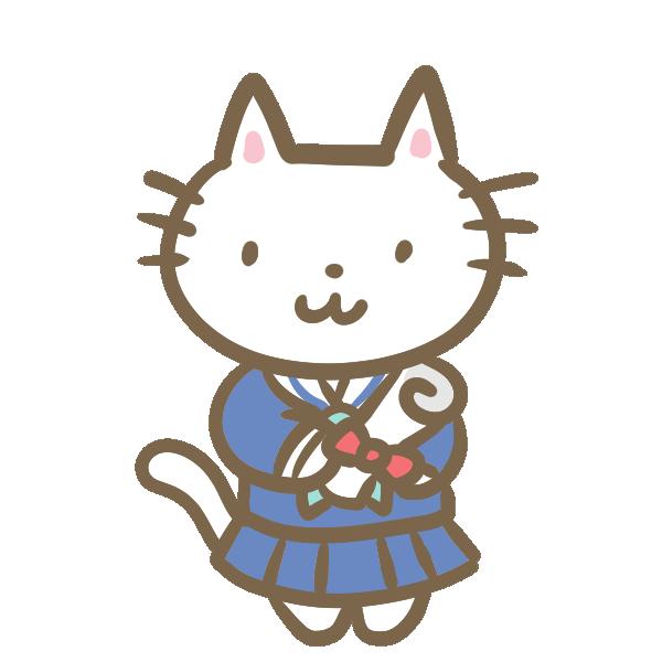 ネコの卒業生(セーラー服)のイラスト