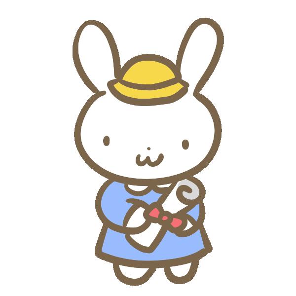 ウサギの卒園生のイラスト