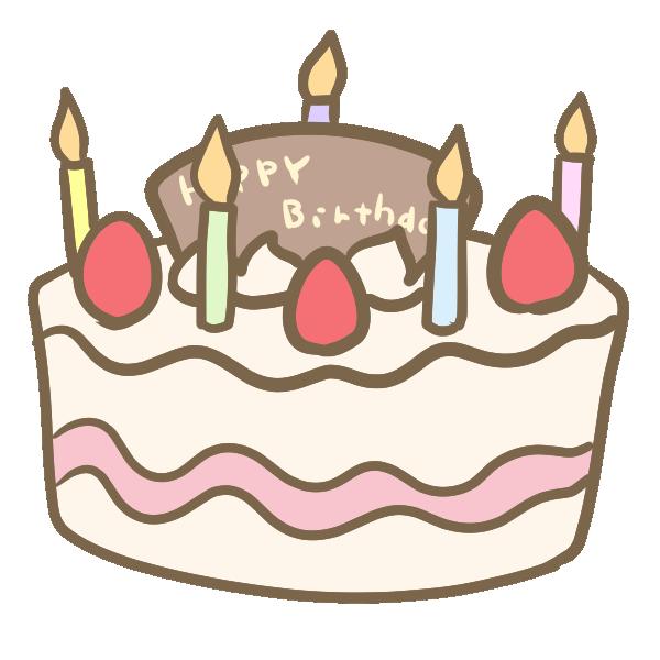 バースデーケーキ(ろうそく付き)のイラスト