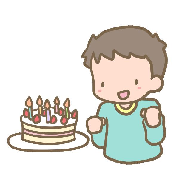 ケーキと男の子のイラスト