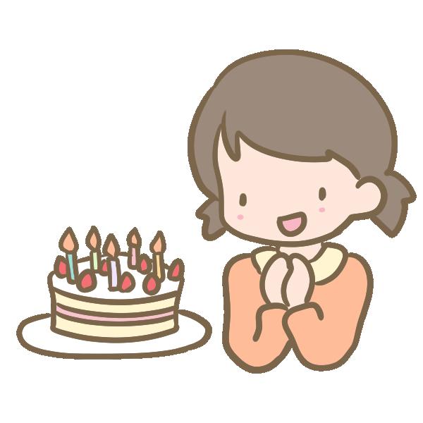 ケーキと女の子のイラスト