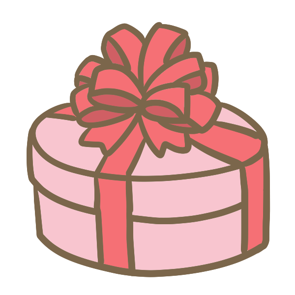 丸い箱のギフト(ピンク)のイラスト