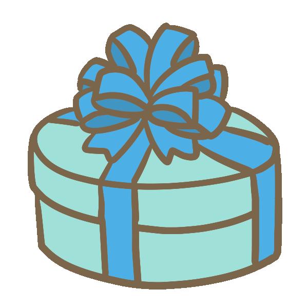 丸い箱のギフト(ブルー)のイラスト
