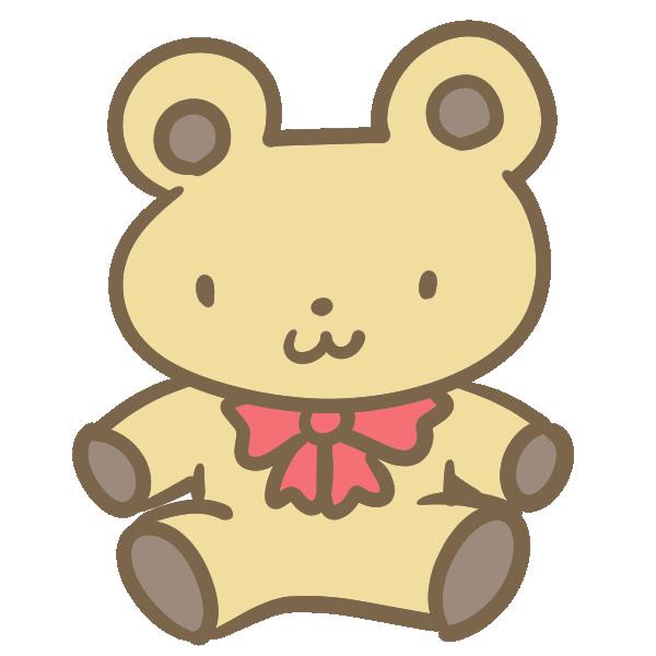 クマのぬいぐるみ(ベージュ)のイラスト
