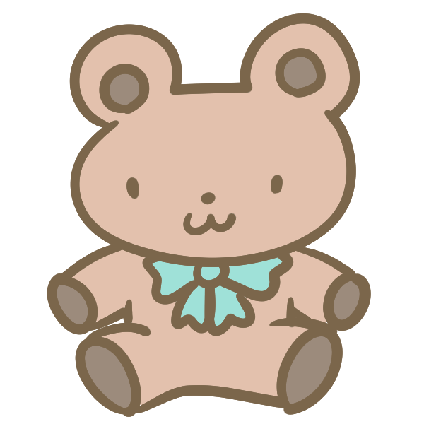 クマのぬいぐるみ(ブラウン)のイラスト
