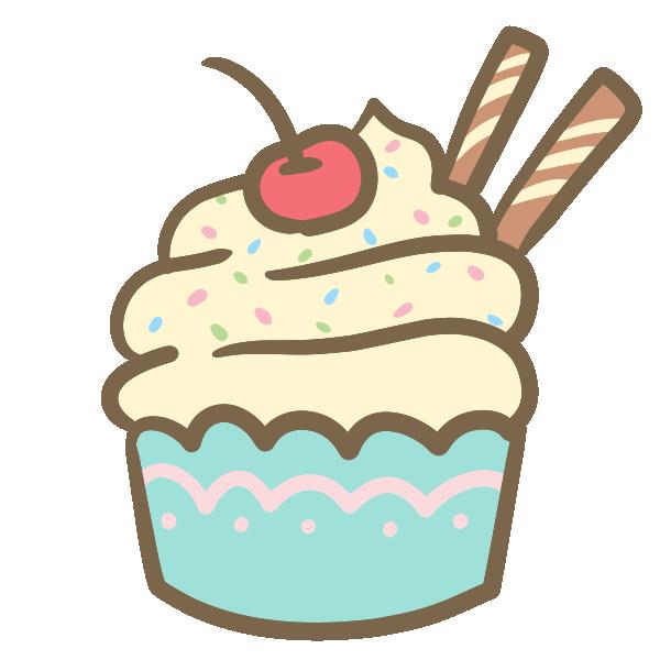 カップケーキ(生クリーム)のイラスト