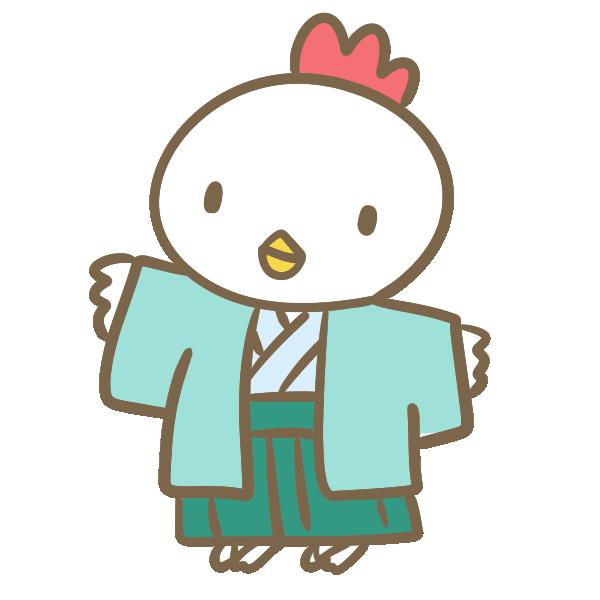 袴の鶏のイラスト