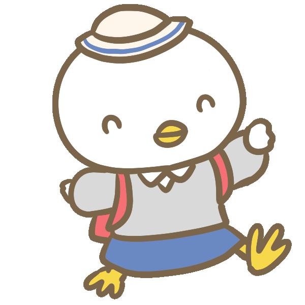 小学生の鶏(女の子)のイラスト