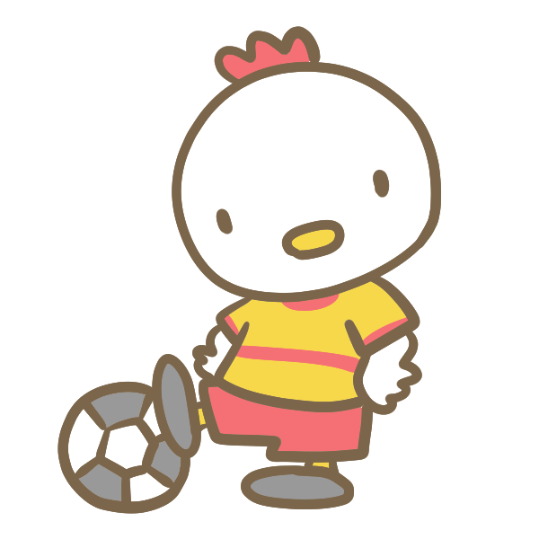 サッカーをする鶏(黄色)のイラスト