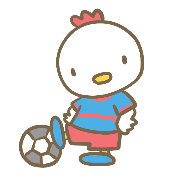 サッカーをする鶏(青)のイラスト