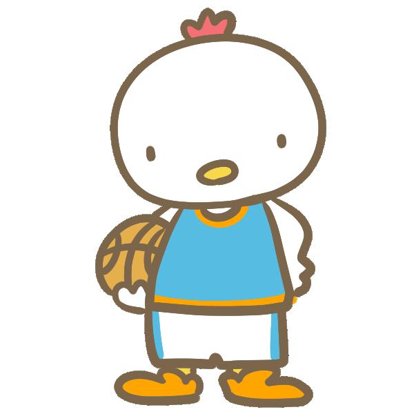 バスケをする鶏(青)のイラスト