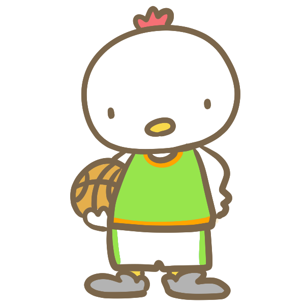 バスケをする鶏(緑)のイラスト