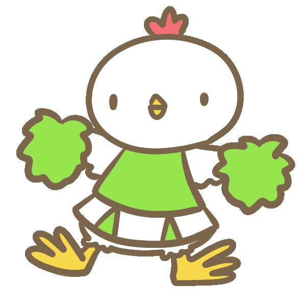 鶏のチアリーダー(黄緑)のイラスト