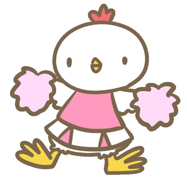 鶏のチアリーダー(ピンク)のイラスト