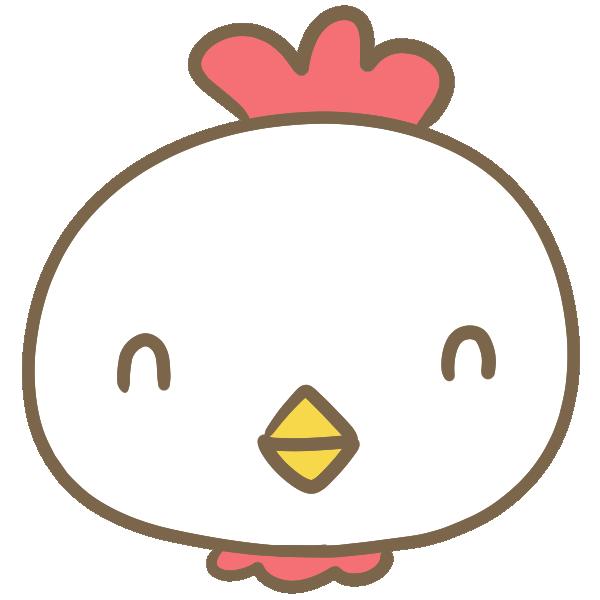 笑う鶏の顔のイラスト