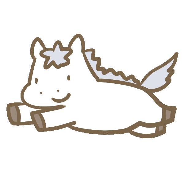 走る白馬のイラスト