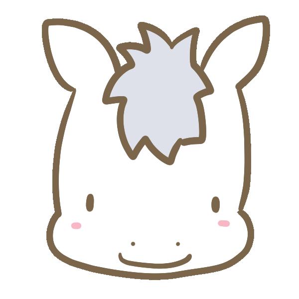 白馬の顔のイラスト
