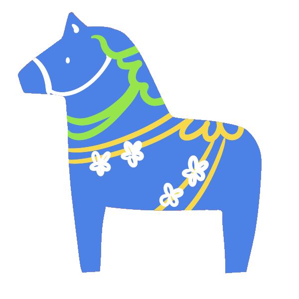 洋風の馬の置物(青)のイラスト