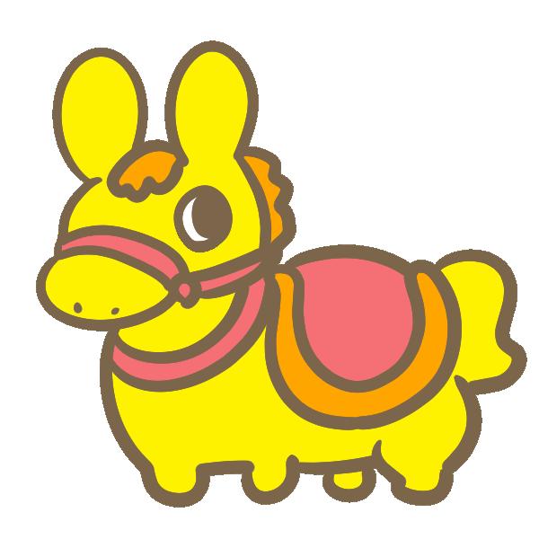 馬の乗り物(黄色)のイラスト