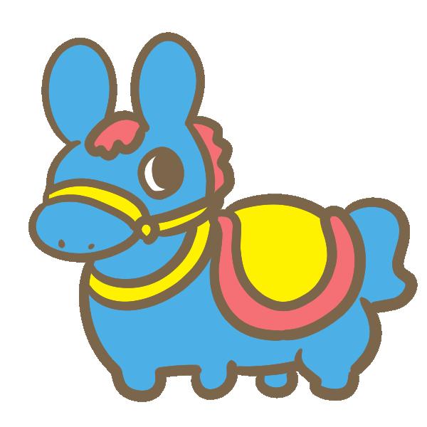 馬の乗り物(青)のイラスト