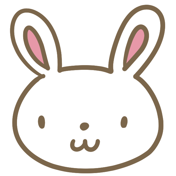 ウサギの顔(白)のイラスト