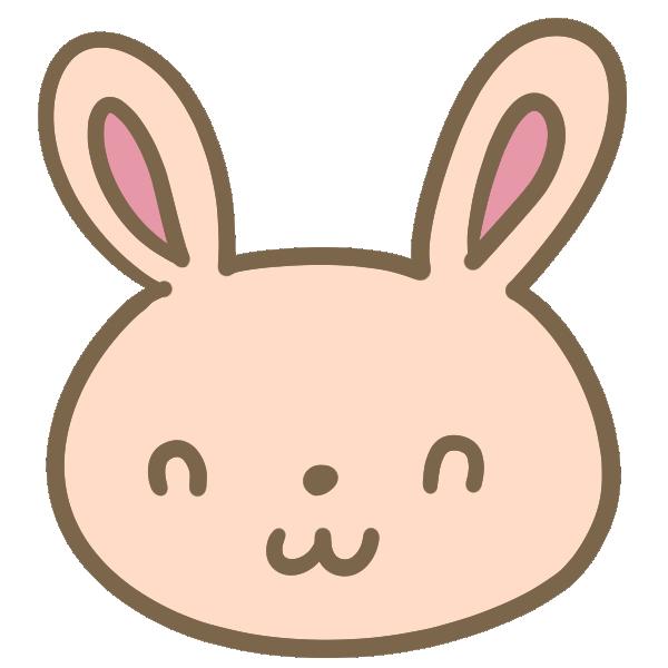 ウサギの顔(茶)のイラスト