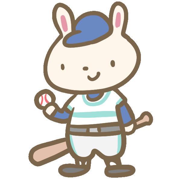 ウサギの野球(バット)のイラスト