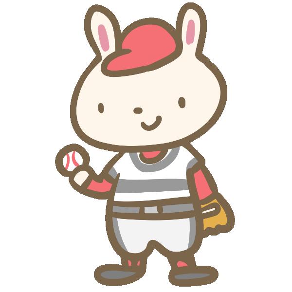ウサギの野球(グローブ)のイラスト