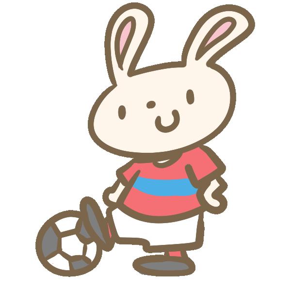 ウサギのサッカー(赤)のイラスト
