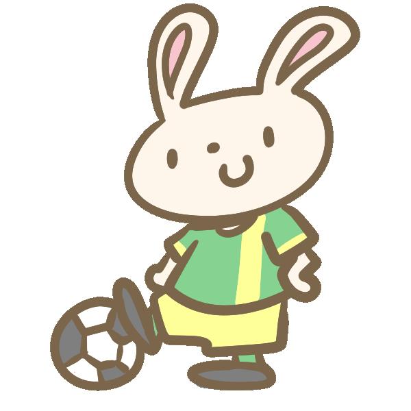 ウサギのサッカー(緑)のイラスト