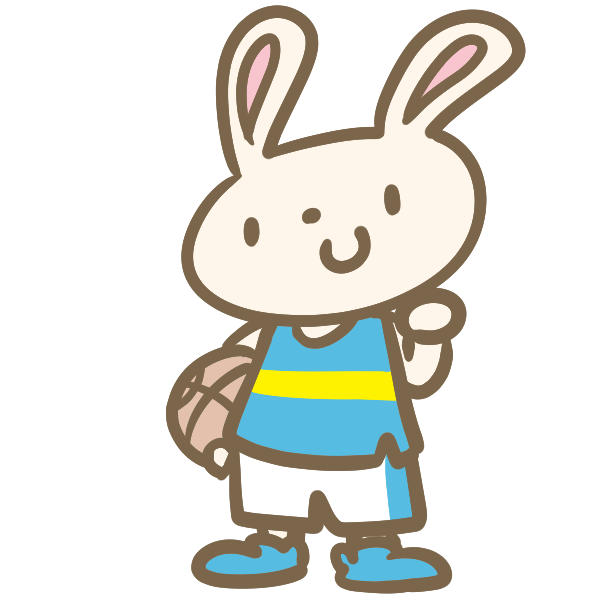 ウサギのバスケ(青)のイラスト