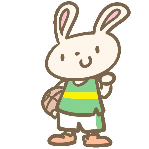 ウサギのバスケ(緑)のイラスト