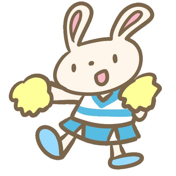 ウサギのチアリーダー(水色)のイラスト
