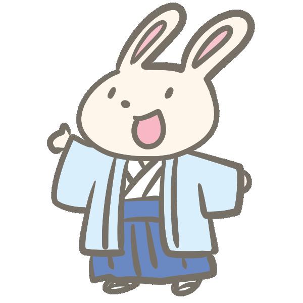 袴のウサギのイラスト
