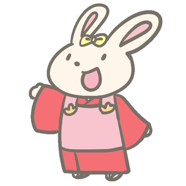 着物のウサギのイラスト