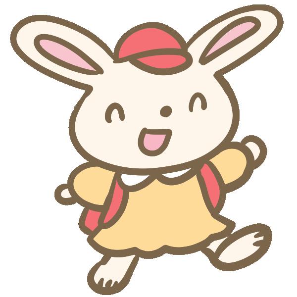 ウサギの小学生(女の子)のイラスト